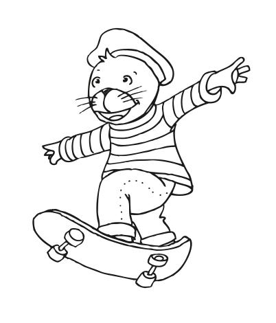Robby auf dem Skateboard